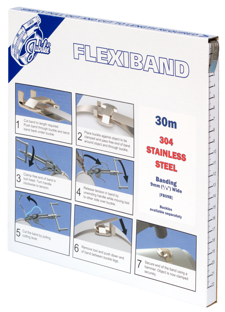 Jubilee 9mm Flexiband 304 Stainless Steel Banding 30m