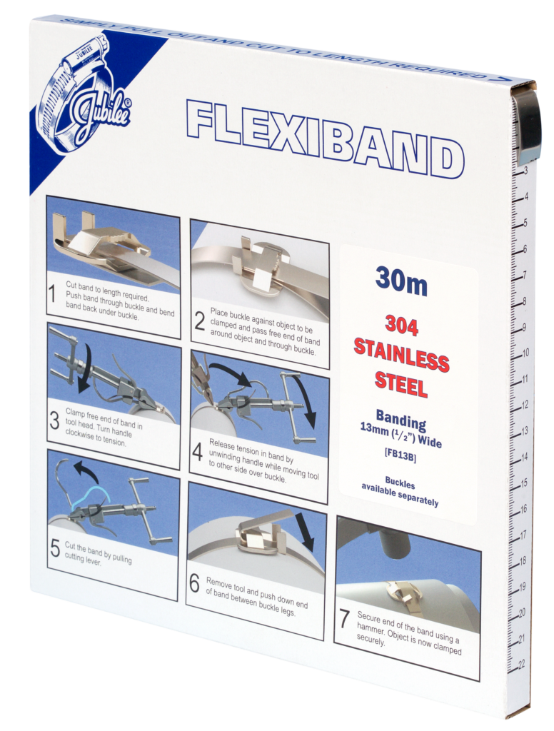 View Jubilee 13mm Flexiband 304 Stainless Steel Banding 30m