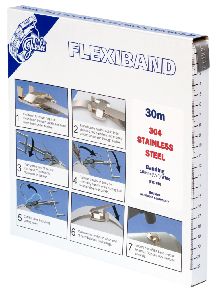 Jubilee 16mm Flexiband 304 Stainless Steel Banding 30m