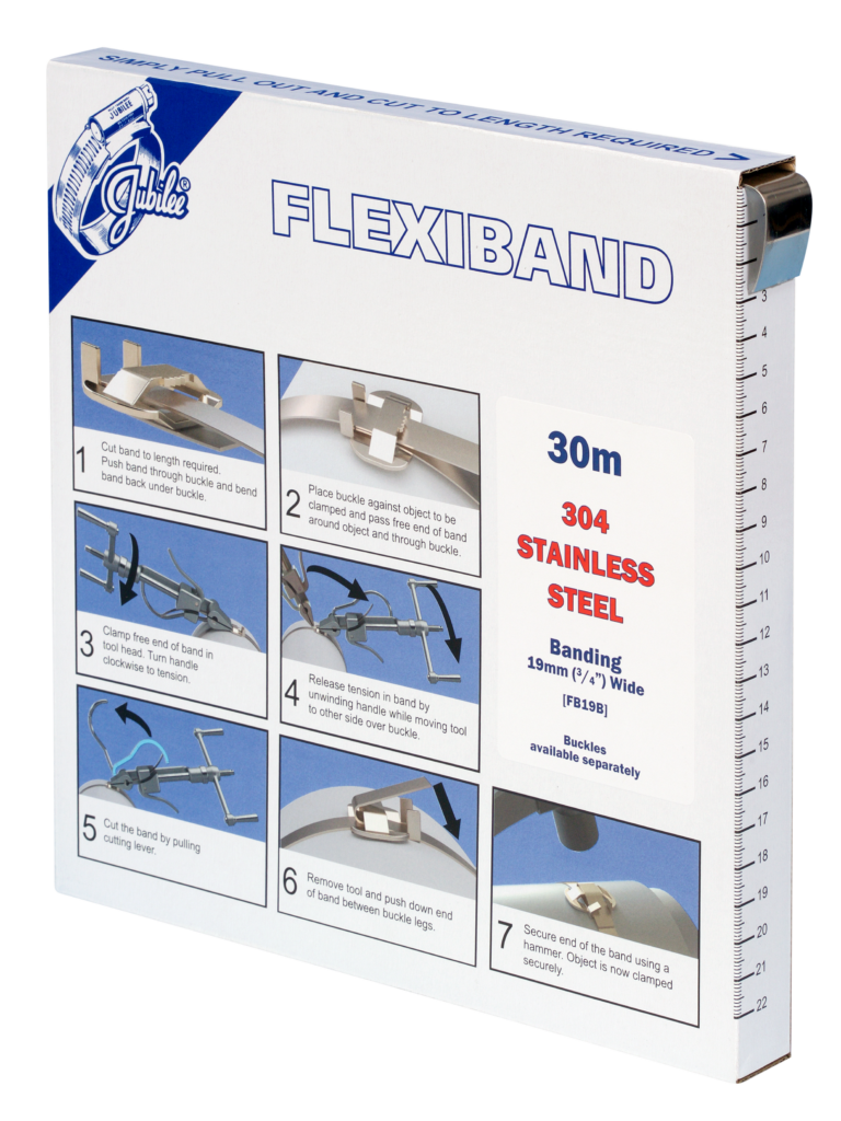 View Jubilee 19mm Flexiband 304 Stainless Steel Banding 30m